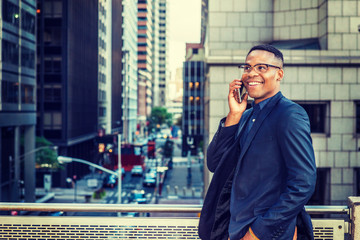 Happy African American Businessman working in New York