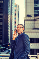 Confident African American Businessman working in New York