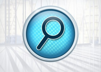 Magnifying glass search icon in city office