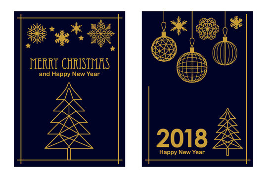 Trendy Merry Christmas and Happy New Year cards. Linear fir tree, snowflakes and decorations on black background.