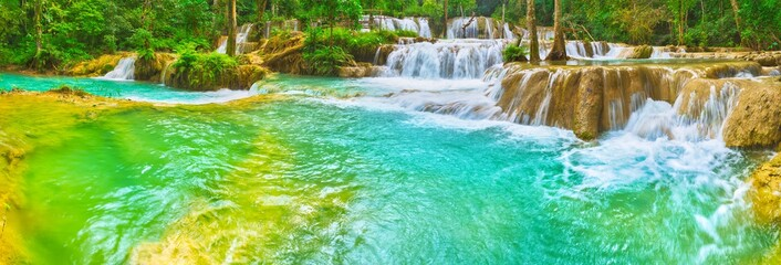 Poster Green coral Tat Sae Waterfalls. Beautiful landscape, Laos. Panorama