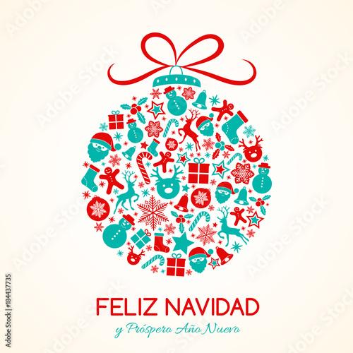 Feliz Navidad Merry Christmas In Spanish Christmas Card With