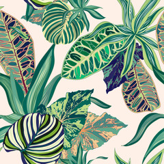 Tropical Jungle Vector Seamless Pattern