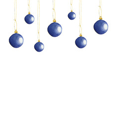 Watercolor illustration Christmas balls, Christmas symbol, round bright ball.