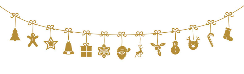 Christmas garland with cute hanging ornaments. Vector.