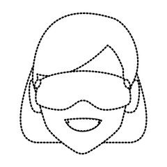 Woman with winrer gooogles face