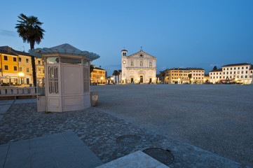 The cathedral of Palmanova in the main square. The historic city is a national monument and from 2017 is unesco humanity heritage. Friuli Region, Italy.