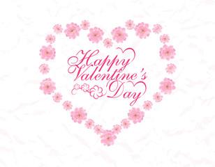 Valentine s Day. Card. Congratulatory inscription. Heart of pink flowers Sakura. illustration