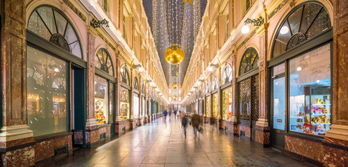 The historical Galeries Royales Saint-Hubert shopping arcades in Brussels
