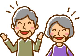 年配夫婦 上半身 大笑い