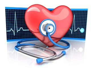 Abstract diagnostic heart symbol and stethoscope