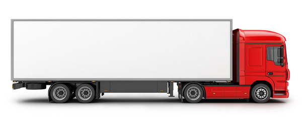 big red truck and white trailer