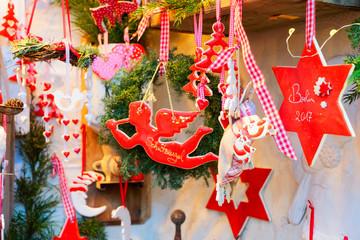 Christmas market kiosk details with angel and Christmas star, Berlin