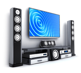 Modern TV and sound system isolated