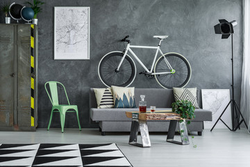 Guy living room with bicycle