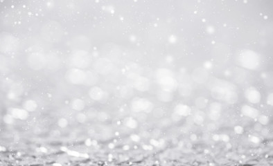 Abstract glitter bokeh and snowflake. concept christmas and new year for background.