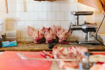 Pig's heads in butchery