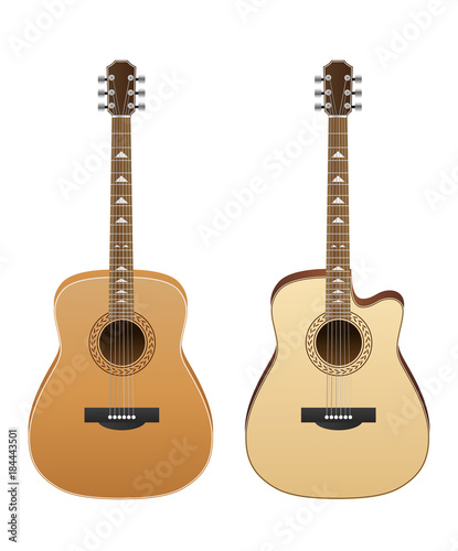 Acoustic Guitars Isolated On White Background Vector Illustration