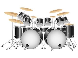 Realistic black drum set on a white background. Vector illustration