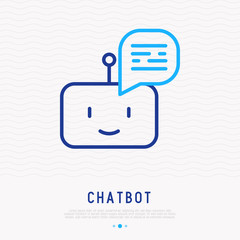 Chatbot thin line icon. Modern vector illustration of artificial intelligence.