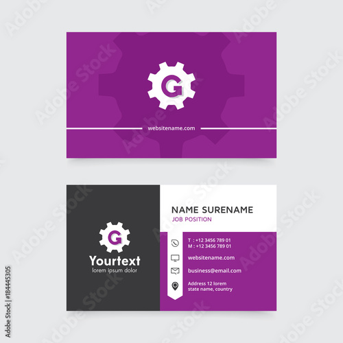 Vector modern creative and clean business card template flat design vector modern creative and clean business card template flat design with purple and black color reheart Images