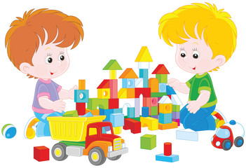 Two little boys playing with multicolor bricks and cars