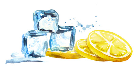 Ice cubes and lemon isolated on white background. Watercolor hand drawn horizontal illustration