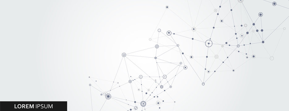 Geometric connected line and dots. Simple technology graphic background. Vector banner design