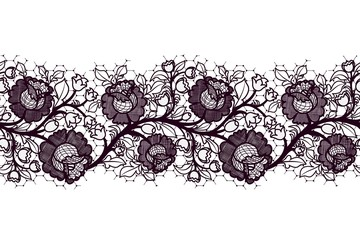Seamless Lace ribbon with roses. Tracery of black flowers on a white background.