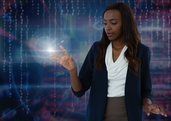 Businesswoman touching air light glow