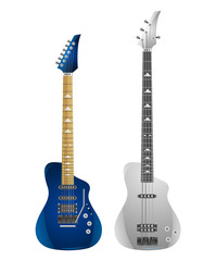 Set of electric guitars and bass isolated on white background. Vector illustration