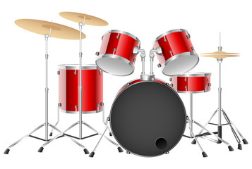 Realistic red drum set on a white background. Vector illustration