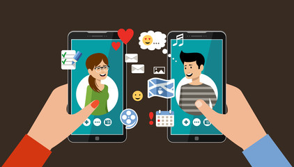 Online dating and social networking concept. Virtual love
