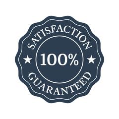 Satisfaction guaranteed flat badge on white background.