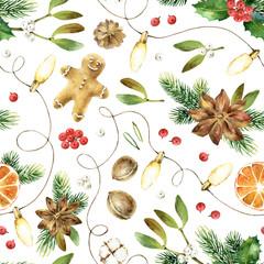 Christmas seamless watercolor pattern