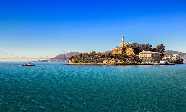 San Francisco bay with Alcatraz Island  and Golden Gate Bridge  on sunny day