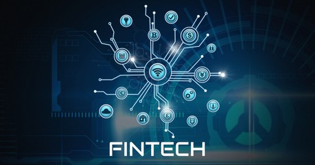 Fintech various business icons with technology