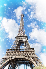 Eiffel Tower at winter day close up, Paris, France