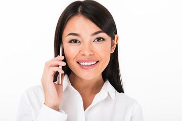 Close up portrait of a smiling asian businesswoman