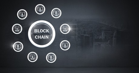 Blockchain icons and city background