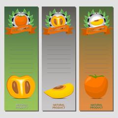 Vector illustration for ripe fruit orange persimmon