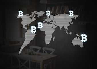 Bitcoin icons on world map
