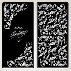 Vintage decorative black and white ornate design