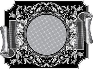Decorative ornate vintage black and white design