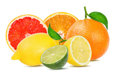 Fototapete - Citrus Fruit Set (orange, grapefruit, lime, lemon) isolated on white background.