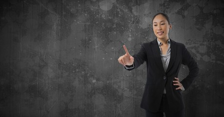 Businesswoman touching air