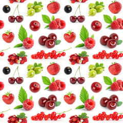 Fruits and berries seamless pattern