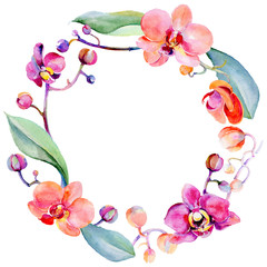 Wildflower orchid flower wreath in a watercolor style. Full name of the plant: orchid. Aquarelle wild flower for background, texture, wrapper pattern, frame or border.
