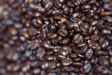 Roasted brown coffee beans, can be used as a background.