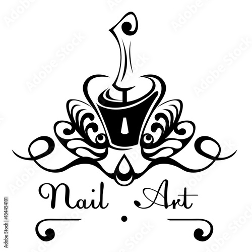 Nail Art Abstract Vector Logo Bottle Of Nail Polish With A Brush